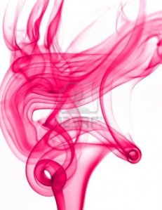 A wisp of pink smoke rising.
